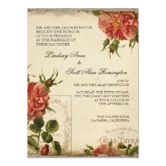 "Teal n Cream Vintage Eiffel Tower Rose Wedding 6.5"" X 8.75"" Invitation Card"