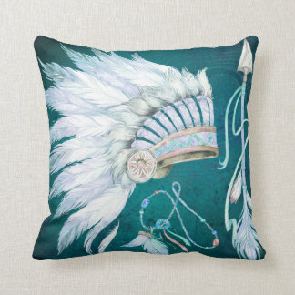 Teal Native American Headdress Arrow southwest Throw Pillow