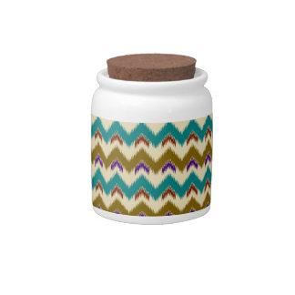 Teal Native Tribal Chevron Pattern Candy Jars