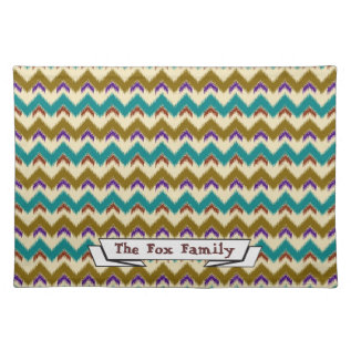 Teal Native Tribal Chevron Pattern Cloth Placemat at Zazzle