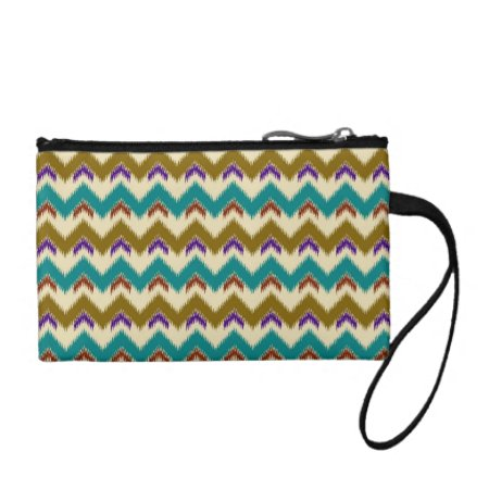 Teal Native Tribal Chevron Pattern Clutch Bag