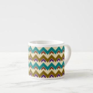 Teal Native Tribal Chevron Pattern Espresso Cup