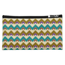 Teal Native Tribal Chevron Pattern Medium Cosmetic Cosmetics Bags  at Zazzle