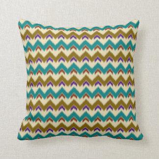Teal Native Tribal Chevron Pattern Pillow