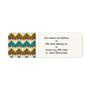 Teal Native Tribal Chevron Pattern Return Address Label at Zazzle