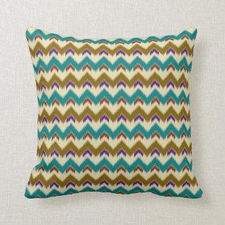 Teal Native Tribal Chevron Pattern (S) Throw Pillows