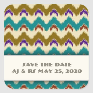 Teal Native Tribal Chevron Pattern Save The Date Square Sticker