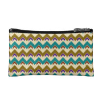 Teal Native Tribal Chevron Pattern Small Cosmetics Cosmetic Bags  at Zazzle