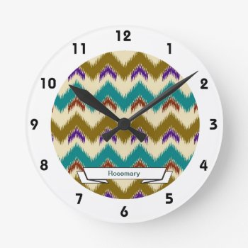 Teal Native Tribal Chevron Pattern Wall Clock by DigitalDreambuilder at Zazzle