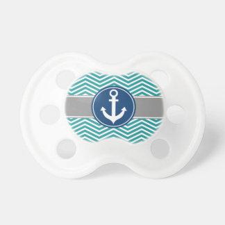 Teal Nautical Anchor Chevron Pacifier