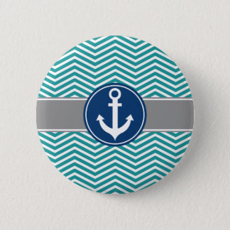 Teal Nautical Anchor Chevron Pinback Button