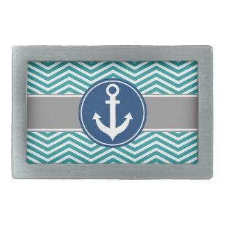 Teal Nautical Anchor Chevron Rectangular Belt Buckle