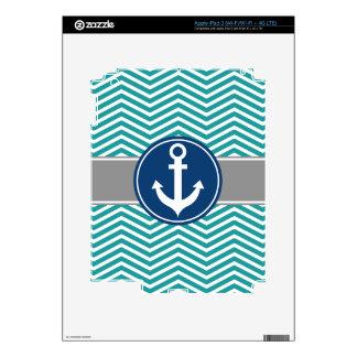 Teal Nautical Anchor Chevron Skins For iPad 3