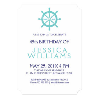 Teal Nautical Boat Wheel Birthday Party Invite