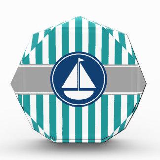 Teal Nautical Sailboat Stripes Award