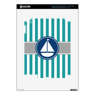 Teal Nautical Sailboat Stripes Decal For iPad 3