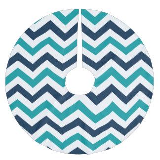 Teal & Navy Blue Chevron Pattern Brushed Polyester Tree Skirt