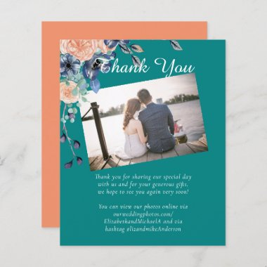 Teal Navy Coral Floral Budget Wedding Stationery