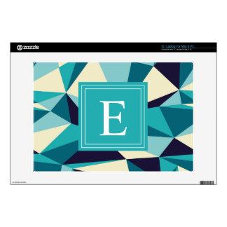 """Teal Navy Monogram Triangle Pattern 13"""" Laptop Skin"""
