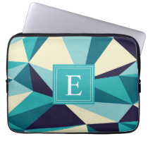 Teal Navy Monogram Triangle Pattern Computer Sleeve