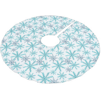 Teal Navy Snowflake Pattern Brushed Polyester Tree Skirt