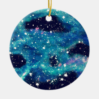 Teal Nebula and Stars Ceramic Ornament