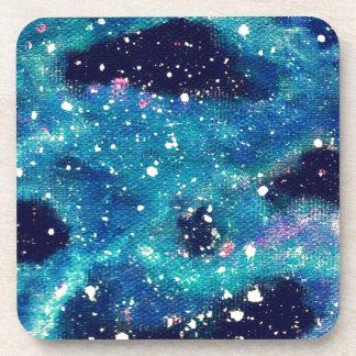 Teal Nebula and Stars Drink Coaster