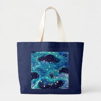 Teal Nebula and Stars Large Tote Bag