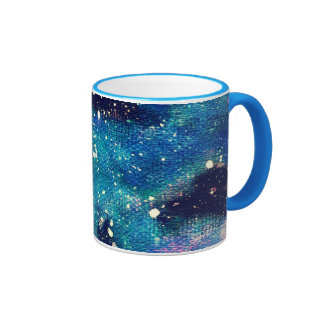 Teal Nebula and Stars Ringer Mug