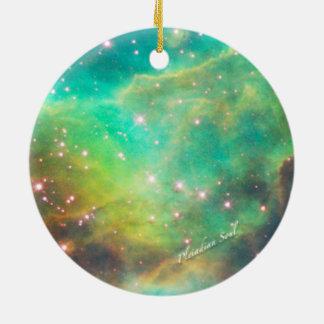 Teal Nebula Round Ornament #3