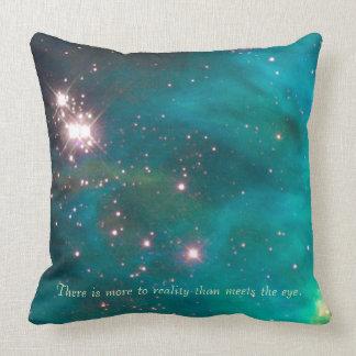 Teal Nebula Throw Pillow