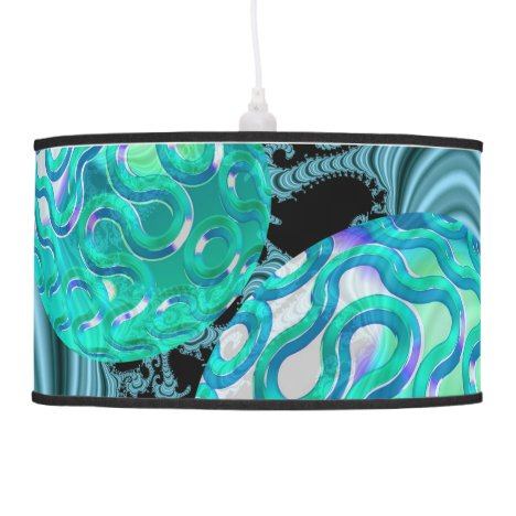 Teal New Beginnings, Abstract Fractal Journey Hanging Lamp
