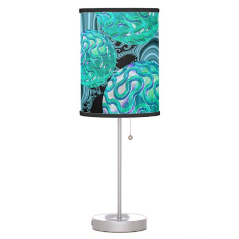 Teal New Beginnings, Abstract Fractal Journey Table Lamp