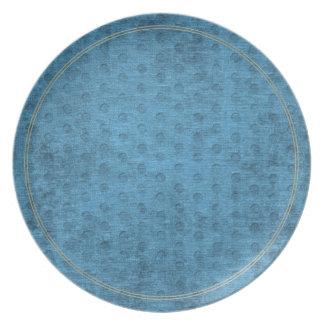 Teal Nubby Chenille Fabric Melamine Plate