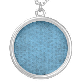 Teal Nubby Chenille Fabric Silver Plated Necklace