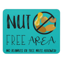 Teal Nut Free Area No Nuts Symbol Typography Door Sign