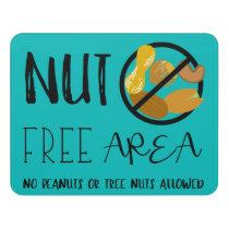 Teal Nut Free Area No Nuts Symbol Typography Door Sign