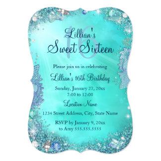 Teal Ocean Jewel Sweet 16 Birthday Invite