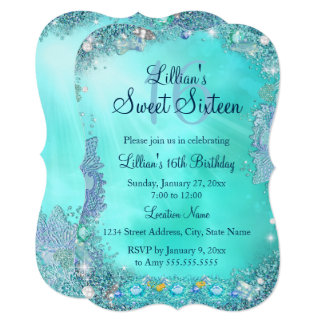 Teal Ocean Jewel Sweet 16 Birthday Party 2 Card