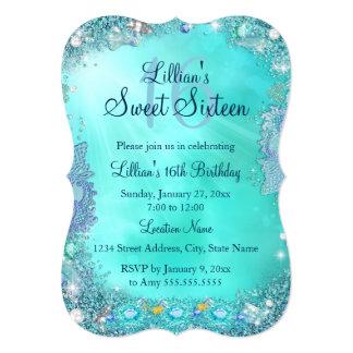 Teal Ocean Jewel Sweet 16 Birthday Party 2 Card