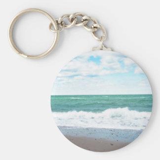Teal Ocean, Sandy Beach Basic Round Button Keychain