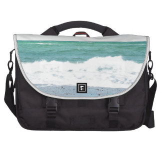 Teal Ocean, Sandy Beach Laptop Messenger Bag