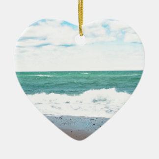 Teal Ocean, Sandy Beach Christmas Tree Ornament