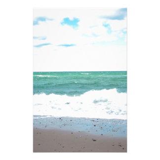 Teal Ocean, Sandy Beach Custom Stationery