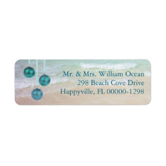 Teal Ocean Tropical Christmas Return Address Label