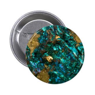 Teal Oil Slick and Gold Quartz Button