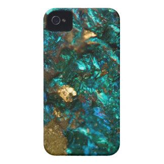 Teal Oil Slick and Gold Quartz iPhone 4 Case