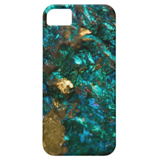 Teal Oil Slick and Gold Quartz iPhone SE/5/5s Case