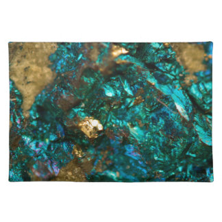 Teal Oil Slick and Gold Quartz Placemat