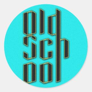 Teal Old School Design Classic Round Sticker